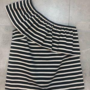 Jcrew one shoulder ruffle shirt